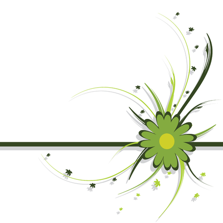 vector artwork: floral design, green, abstract background