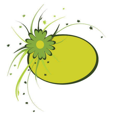floral frame, oval, green, vector illustration Vector