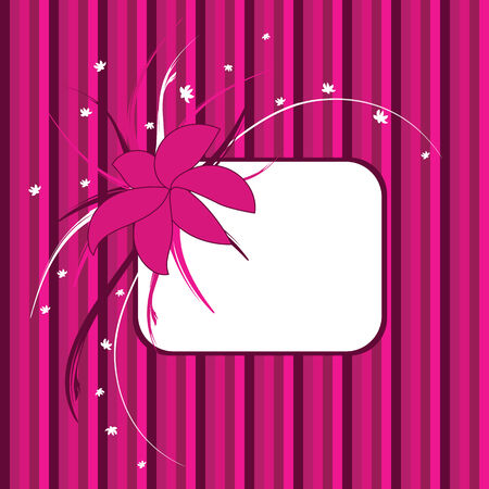 floral frame, pink and purple stripes in background Illustration