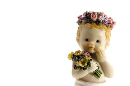 cute baby angel holding flowers photo
