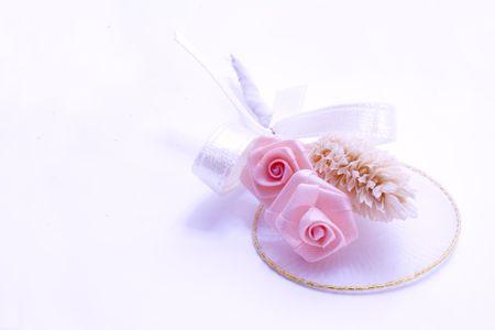 boutonniere: pink rose boutonniere, wedding flowers Stock Photo