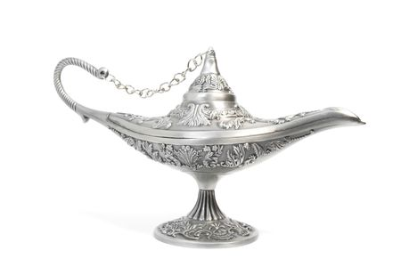 silver aladdins magic lamp, isolated on white