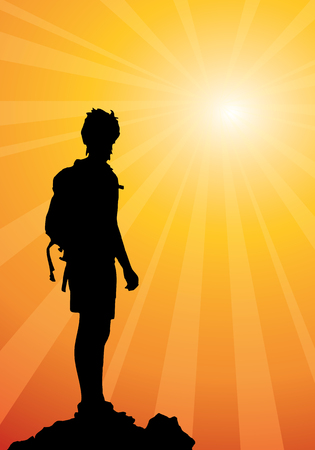 hiker: backpacker standing on top of mountain, vector illustration