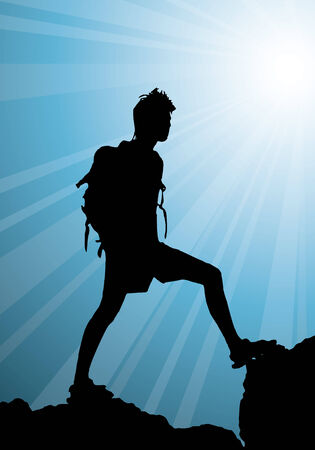 backpackers: backpacker standing on top of mountain, vector illustration