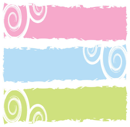 grungy banners, swirls, vector illustration Vector