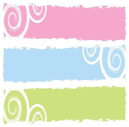 grungy banners, swirls, vector illustration