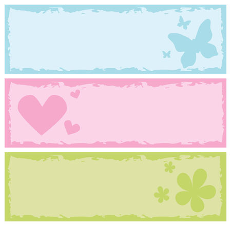 banners with butterflies, hearts and flowers, vector illustration