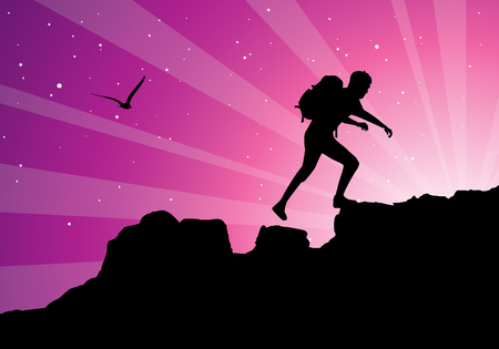 man hiking: backpacker climbing on top of mountain, vector illustration Illustration