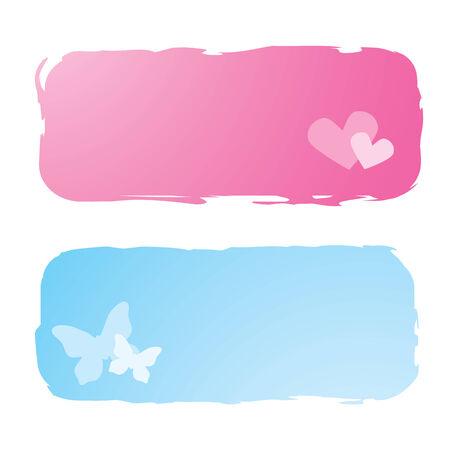 grungy banners with hearts and butterflies, vector illustration Vector
