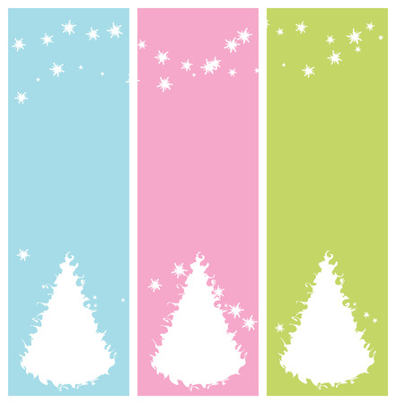 winter banners with christmas tree, vector illustration Vector