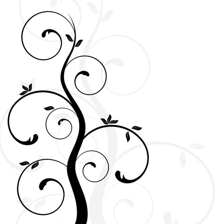 swirly: abstract floral design, vector illustration