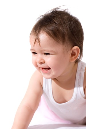 infancy: adorable baby girl laughing
