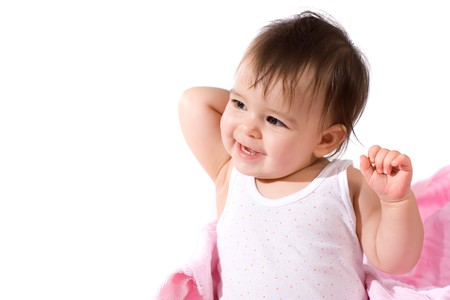 adorable baby girl laughing