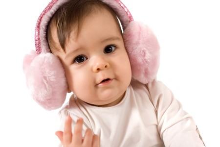 adorable baby girl with ear warmer