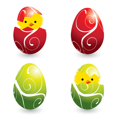 colored egg: set of colorful easter eggs and hatching chicks, vector illustration Illustration