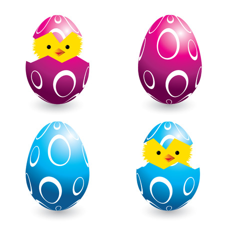 set of colorful easter eggs and hatching chicks, vector illustration Stock Vector - 4389800