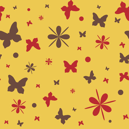 seamless pattern with flowers and butterflies, vector illustration Vector