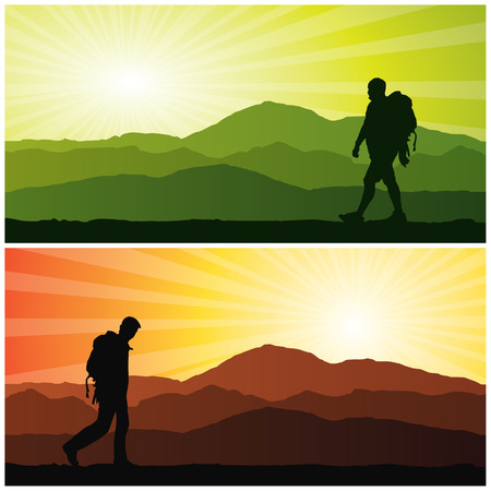 backpacker, vector illustration