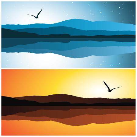 m�ve: Meer Landschaft, Vektor-Illustration
