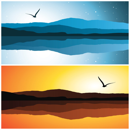 sea landscape, vector illustration
