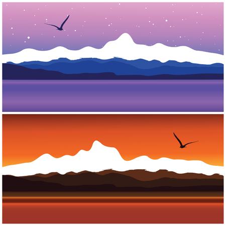 sea landscape, vector illustration Vector