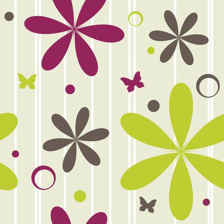 naadloze patroon met bloemen en vlinders, vector illustration