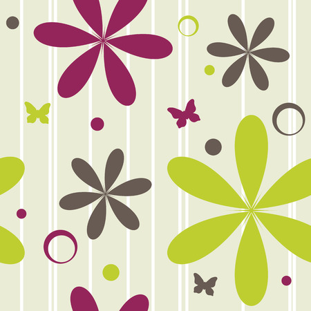 seamless pattern with flowers and butterflies, vector illustration Illustration