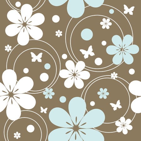 seamless pattern with flowers and butterflies, vector illustration Stock Vector - 4669877