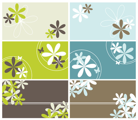 vector banners or headers: set of floral business cards Illustration