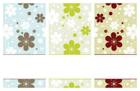 set of vertical retro banners with flowers, vector illustration Vector