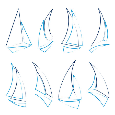 sailing yacht: set of sailboat icons, vector illustration