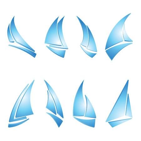 barca a vela: barca a vela insieme di icone, illustrazione vettoriale