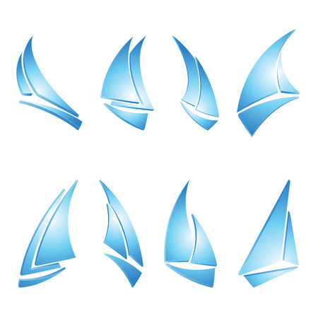 3d boat: set of sailboat icons, vector illustration