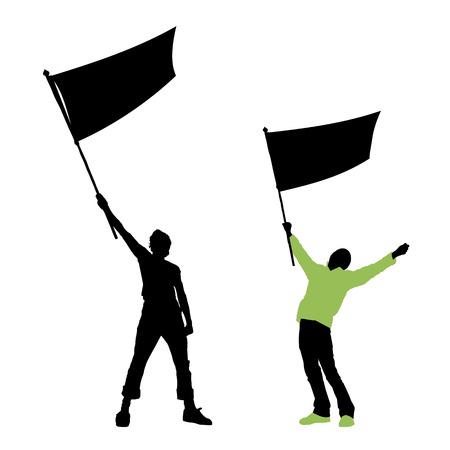manifestacion: hombre con una bandera en blanco, ilustraci�n vectorial