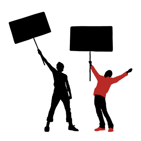 person holding sign: man holding a blank sign, vector illustration