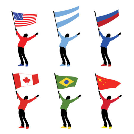 man holding a national flag, vector illustration Vector
