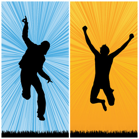 happy man jumping, vector illustration Vector