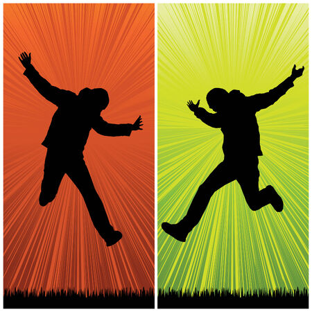 happy man jumping, vector illustration Vector