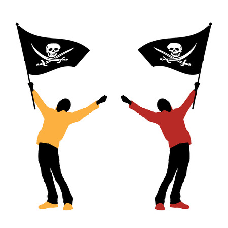outlaws: man holding a pirate flag, vector illustration