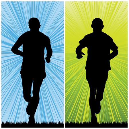 man jogging, vector illustration Vector