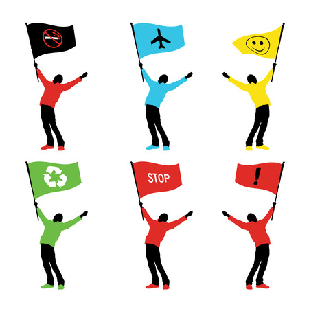 man holding a flag, vector illustration Vector