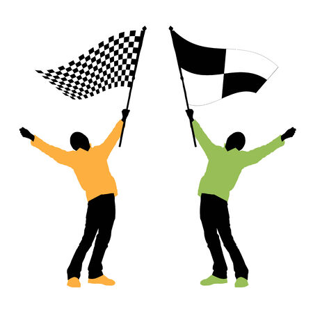 one to one: man holding a black and white checkered flag, vector illustration