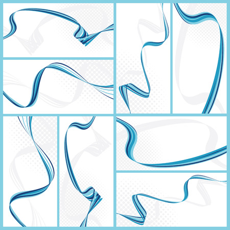 set of abstract wavy backgrounds, vector illustration