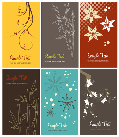 swirl backgrounds: serie di biglietti da visita floreale, illustrazione vettoriale