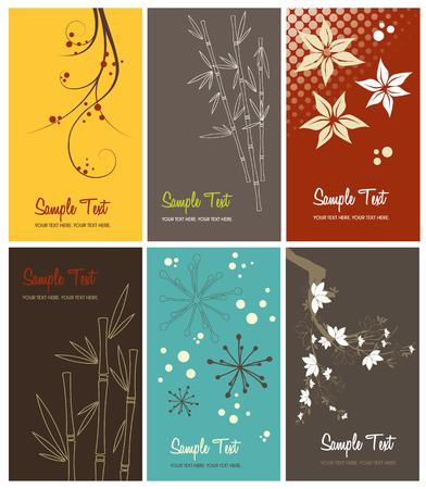 set of floral business cards, vector illustration