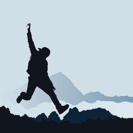 happy man jumping, vector illustration Stock Vector - 5238483
