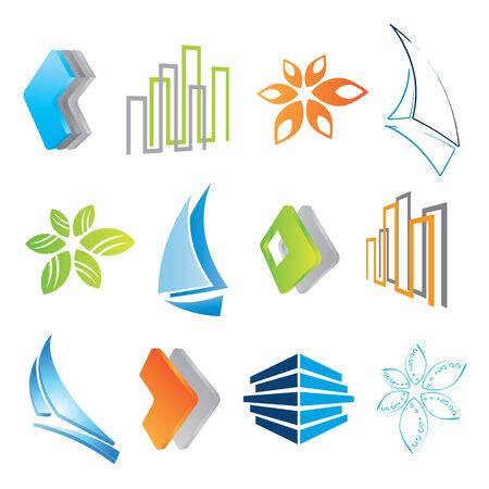 3d sail boat: set of icons, vector illustration Illustration