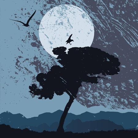 grunge landscape, vector illustration Vector
