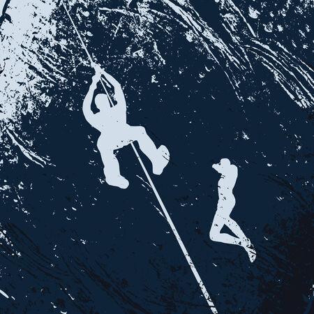 challange: underwater diving, vector illustration Illustration