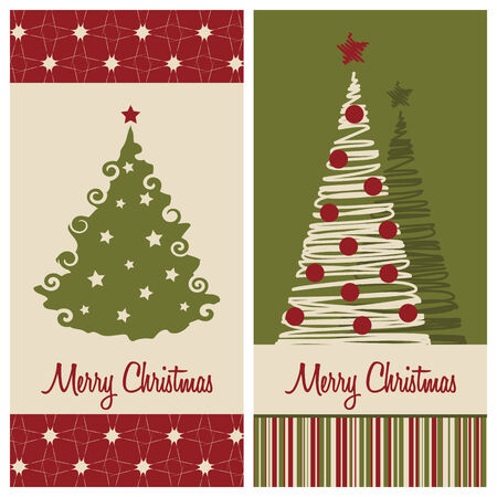 christmas card set, vector illustration